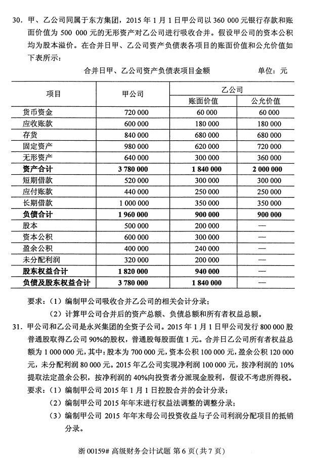 全国2017年4月00159高级财务会计自考试题